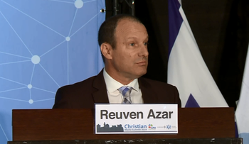 Reuven Azar at the Christian Media Summit in 2019.