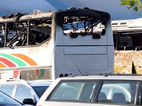 Damaged buses at Bourgas airport after a bomb explosion on July 18, 2012.
