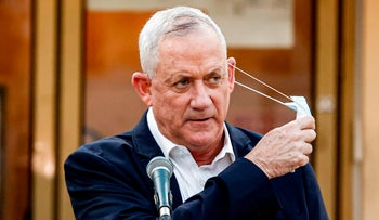 Benny Gantz, alternate prime minister and defense minister,  outside the city hall of Bnei Barak on September 6, 2020.