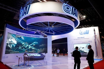 A view of the IAI (Israel Aerospace Industries) booth at the Singapore Airshow in Singapore February 11, 2020.