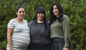 Sisters Elly Sapper, left, Dassi Erlich and Nicole Meyer, whose accusations led to Malka Leifer facing 74 counts of rape and sexual assault, in Melbourne, Australia, May 27, 2020.
