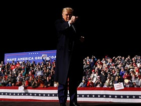 U.S. President Donald Trump reacts to the crowd at the end of a campaign event at the Bemidji Regional Airport in Bemidji, Minnesota, U.S., September 18, 2020. Picture taken September 18, 2020