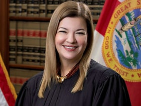Florida Supreme Court Justice Barbara Lagoa, currently a United States Circuit Judge of the United States Court of Appeals for the Eleventh Circuit, poses in a photograph from 2019 obtained Sept. 19, 2020