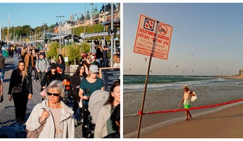 People walking on a busy Stockholm street, left, and a man walking on a deserted Tel Aviv beach hit by a second coronavirus lockdown, September 19, 2020.