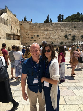 Rep. Max Rose with wife Leigh during a visit to the Western Wall in Jerusalem, August 2019.