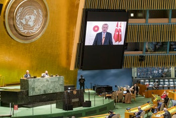 Turkish President Recep Erdogan's pre-recorded message is played during the 75th session of the United Nations General Assembly, September 22, 2020.