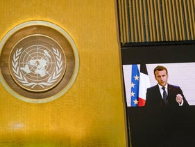 French President Emmanuel Macron's pre-recorded message is played during the 75th session of the United Nations General Assembly, UN headquarters, New York, September 22, 2020.