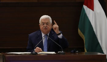 Palestinian President Mahmoud Abbas speaks during a leadership meeting at his headquarters, in the West Bank city of Ramallah, September 3, 2020.