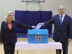 Prime Minister Benjamin Netanyahu and his wife Sara casting their votes at the last election, March 2, 2020.