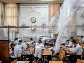 Ultra-Orthodox Jews in a Jerusalem synagogue, September 9, 2020.