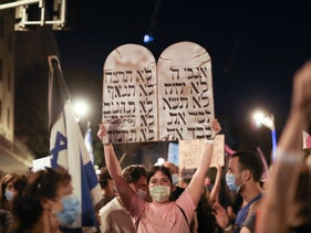 A protester at an anti-Netanyahu protest, Jerusalem, September 20, 2020.
