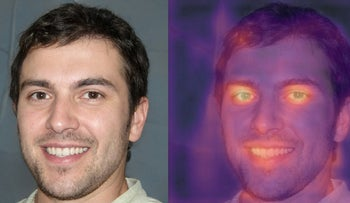A combination photograph showing an image purporting to be of British student and freelance writer Oliver Taylor and a heat map of the same photograph produced by Tel Aviv-based deepfake detection company Cyabra is seen in this undated handout photo obtained by Reuters.