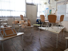 An empty elementary school classroom as Israel closed schools for nationwide lockdown, Tel Aviv, Israel,  September 17, 2020.