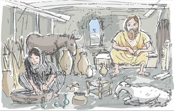 """An illustration depicting Jesus and his """"wife."""""""