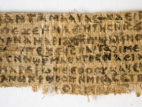 """The fragment of papyrus that became known as """"The Gospel of Jesus' Wife."""""""