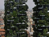 The twin towers of the Bosco Verticale (Vertical Forest) residential buildings rise above Milan, Italy, on August 3, 2017