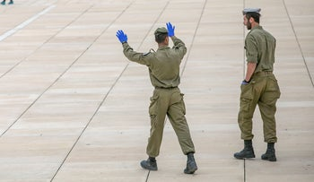 Soldiers patrol Habima Square in Tel Aviv, during the first coronavirus lockdown, April 1, 2020.