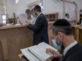 Students study amid coronavirus restrictions at Yeshiva Heichal HaTorah, Jerusalem, September 1, 2020.