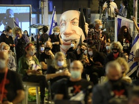 Anti-Netanyahu protests as second lockdown set to tighten, Thursday, September 24, 2020.