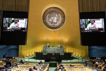King Salman of Saudi Arabia addressing the 75th session of the UN General Assembly in New York, September 23, 2020.