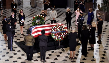U.S. Congresswomen pay their respects as the flag-draped casket of Justice Ruth Bader Ginsburg lies in state at the U.S. Capitol, in Washington, D.C., September 25, 2020.