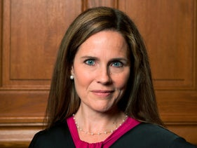 This image provided by Rachel Malehorn shows Judge Amy Coney Barrett in Milwaukee on August 24, 2018
