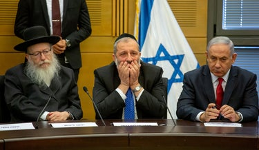 Ultra-Orthodox leaders Yaakov Litzman (L) and Arye Dery (C) with Prime Minister Benjamin Netanyahu at the Knesset, November 18, 2019.