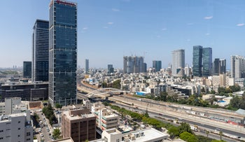 Office buildings are seen on the border Tel Aviv and Givatayim, June 16, 2020.
