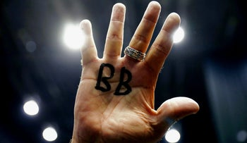 "Supporter of Israeli Prime Minister Benjamin Netanyahu with his nickname ""Bibi"" on his hand after exit poll results, March 2, 2020"