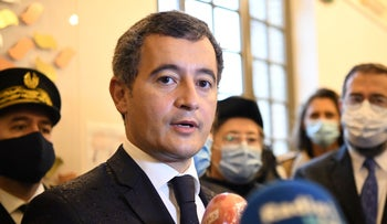 French Interior Minister Gerald Darmanin speaks to the press during a visit at the synagogue of Boulogne-Billancourt, a suburb of Paris, France September 27, 2020.
