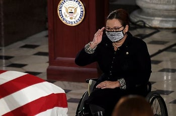 Sen. Tammy Duckworth paying her respects as the casket of Justice Ruth Bader Ginsburg lies in state at the Capitol, September 25, 2020.