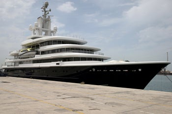Superyacht Luna owned by Russian billionaire Farkad Akhmedov is docked at Port Rashid in Dubai, United Arab Emirates, March 28, 2019.