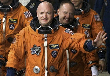 Democratic senatorial candidate and former astronaut Mark Kelly photographed during preparations for a space shuttle mission in 2011.