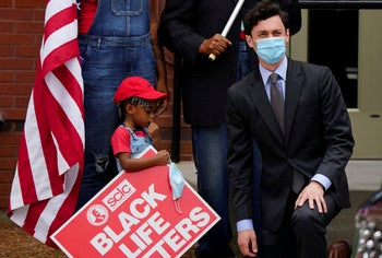 Georgia's democratic senatorial nominee Jon Ossoff arriving to attend the funeral for Rayshard Brooks, a Black man shot dead by a police officer, Atlanta, Georgia, June 23, 2020.