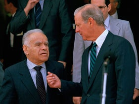U.S. Secretary of State James Baker III, right, and Israeli Prime Minister Yitzhak Shamir conferring following meetings at the Prime Minister's office in Jerusalem, September 17, 1991.