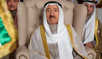 Kuwait's ruling emir, Sheikh Sabah Al Ahmad Al Sabah, attends the opening of the 30th Arab Summit, in Tunis, Match 31, 2019.