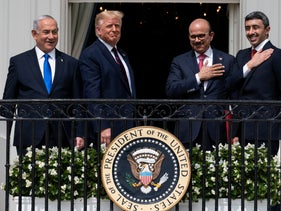Netanyahu, Trump, Bahrain Foreign Minister Khalid bin Ahmed Al Khalifa and United Arab Emirates Foreign Minister Abdullah bin Zayed Al Nahyan, Washington, September 15, 2020.