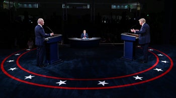 President Donald Trump and Democratic presidential candidate former Vice President Joe Biden participate in the first presidential debate Tuesday, September 29, 2020.