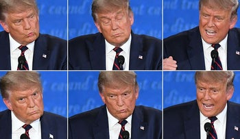 This combination of pictures created on September 29, 2020 shows US President Donald Trump during the first presidential debate with Democratic Presidential candidate former Vice President Joe Biden at Case Western Reserve University and Cleveland Clinic in Cleveland, Ohio, on September 29, 2020