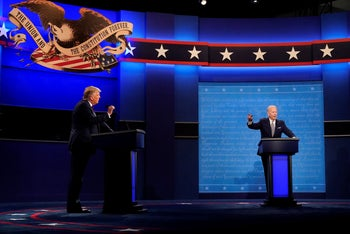 U.S. President Donald Trump, left, and Democratic presidential candidate former Vice President Joe Biden, right, during the first presidential debate, Cleveland, September 29, 2020.