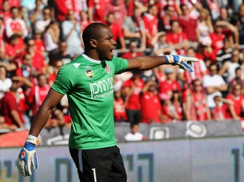 Vincent Enyeama, pictured playing for Hapoel Tel Aviv. Despite being Nigeria's most capped player, he never played for a top European club.