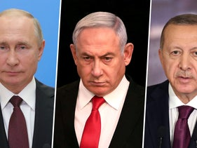 Russian President Vladimir Putin (left), Prime Minister Benjamin Netanyahu (center) and Turkish President Recep Tayyip Erdogan (right).