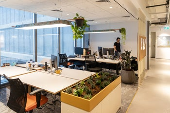 An empty office as Israeli hi-tech workers are sent home to work