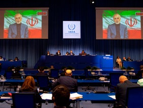Iran FM Mohammad Javad Zarif speaks virtually at the 64th General Conference of the International Atomic Energy Agency at its headquarters in Vienna, Austria, September 21, 2020.