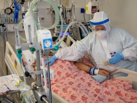 Inside a coronavirus ward at Shaare Zedek Medical Center, Jerusalem, September 2020.