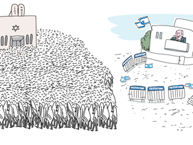 Haaretz cartoon showing limited protests (right) vs. packed prayers