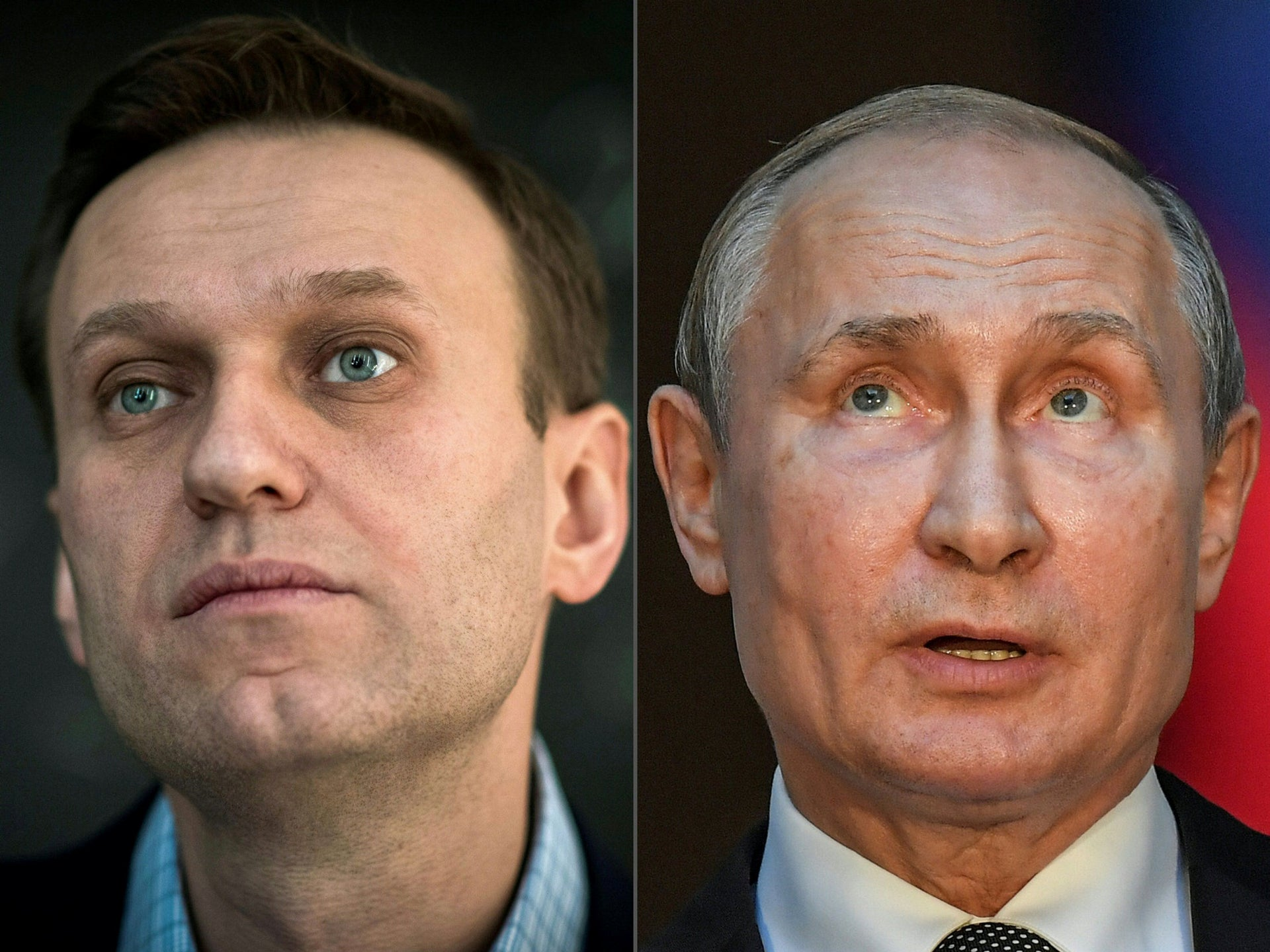 Russian opposition leader Alexei Navalny, left on January 16, 2018 in Moscow, and Russian President Vladimir Putin, on July 4, 2019 in Rome.
