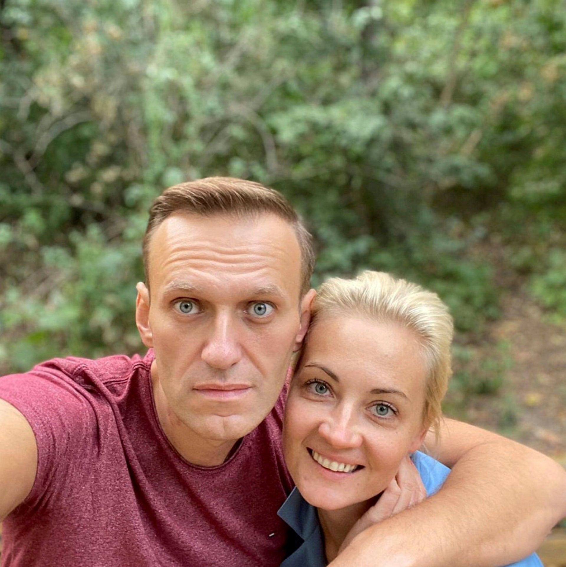 Navalny and his wife Yulia Navalnaya pose for a picture in an unknown location, in this undated image obtained from social media September 25, 2020.