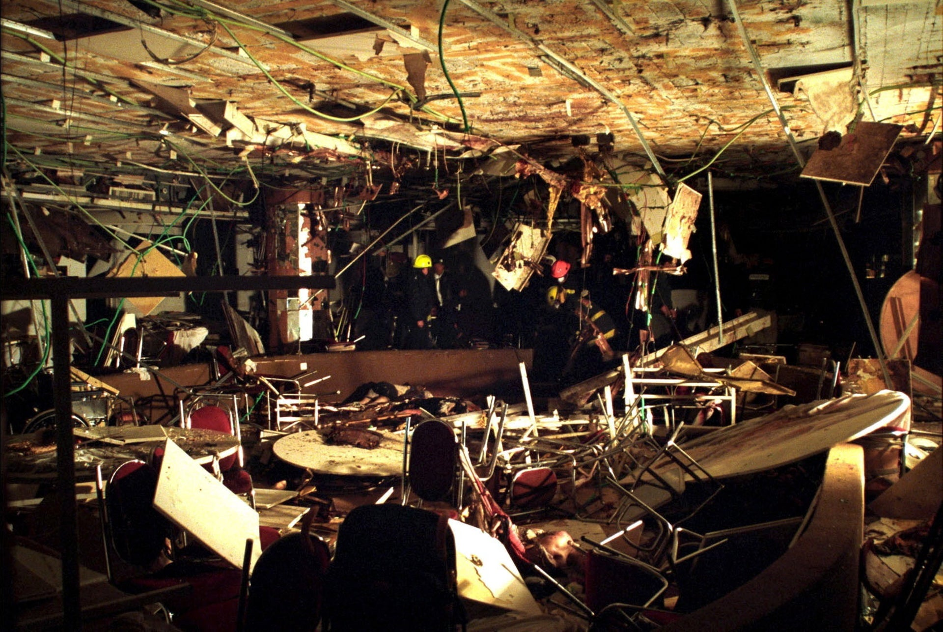 Destruction at Netanya's Park Hotel after the suicide bombing of March 27, 2002.