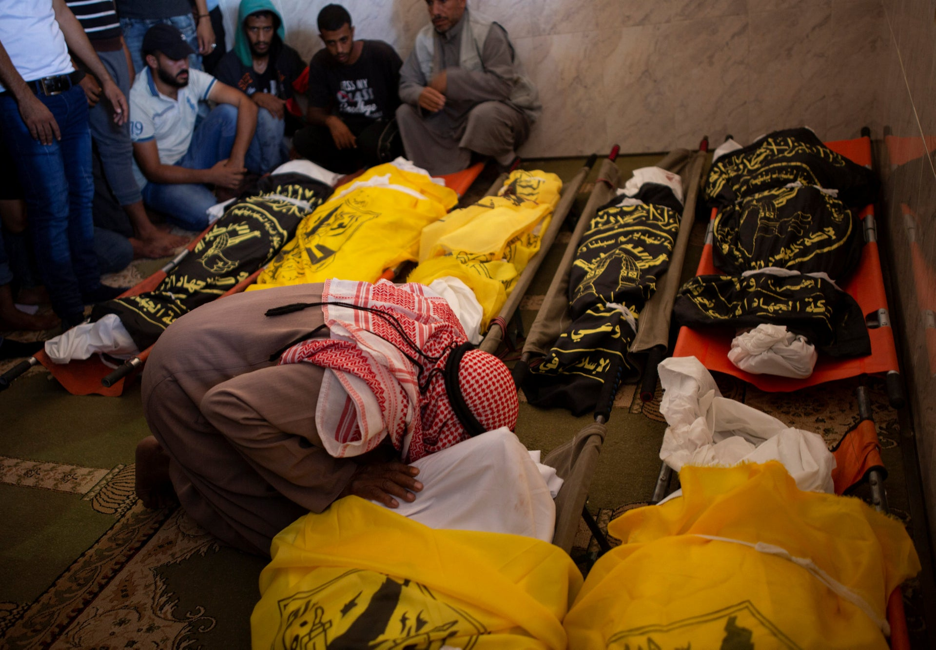 A funeral for members of the Sawarka family killed in overnight Israeli missile strikes that targeted their house, the town of Dir al-Balah, central Gaza Strip, Nov. 14, 2019.